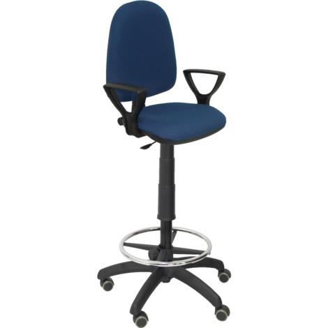 Taburete de Oficina Ayna bali azul marino brazos fijos ruedas de parqué