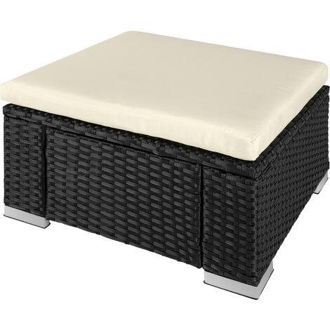 Taburete de ratán - taburete cuadrado con cojín, mueble de ratán sintético resistente a intemperies, asientos de jardín con estructura de acero