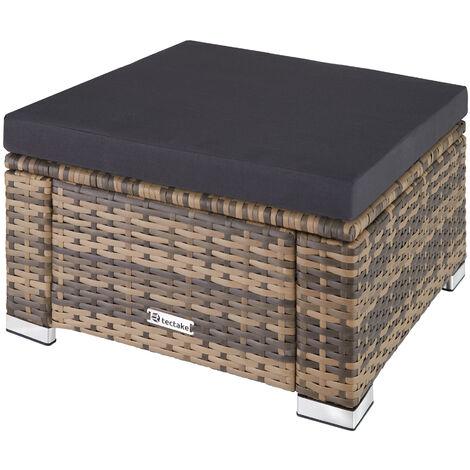 """main image of """"Taburete de ratán - taburete cuadrado con cojín, mueble de ratán sintético resistente a intemperies, asientos de jardín con estructura de acero"""""""