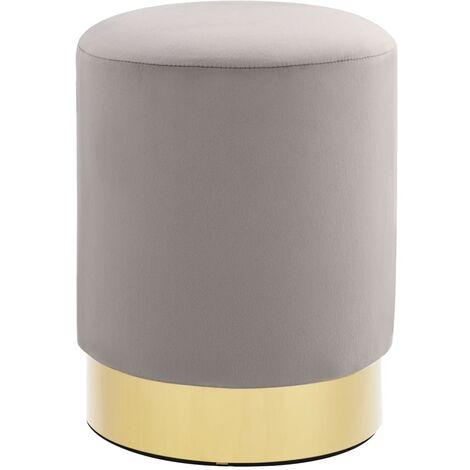 Taburete de terciopelo gris claro y dorado