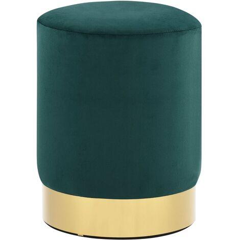 Taburete de terciopelo verde mostaza y dorado