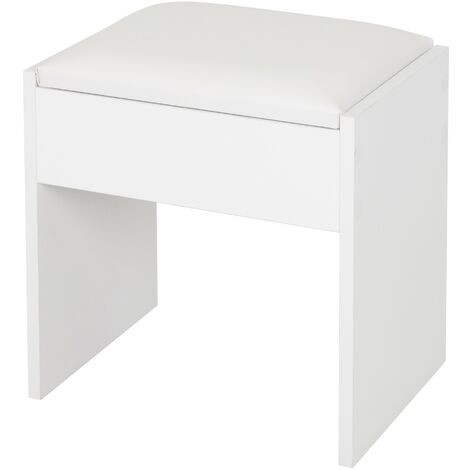 """main image of """"Taburete de tocador asiento auxiliar elegante silla blanca banqueta de madera"""""""