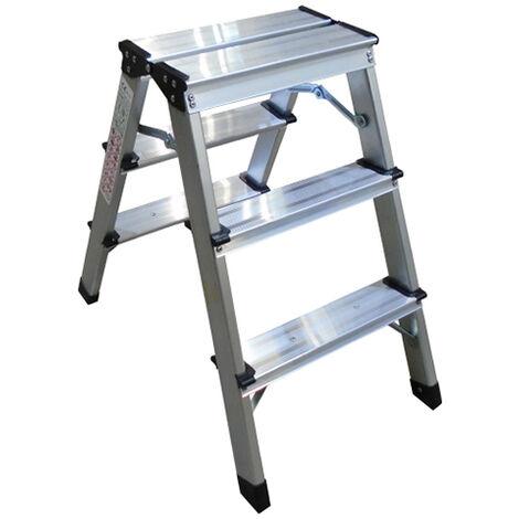 Taburete Escalera 3 peldaños portatil plegable de aluminio multiusos tipo hogar