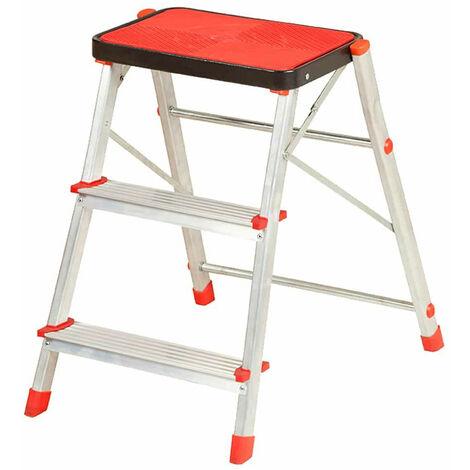 Taburete Escalera de Acero 3 Peldaños Catter House Alt. Máx. Trabajo 266 cm Plegable con Plataforma