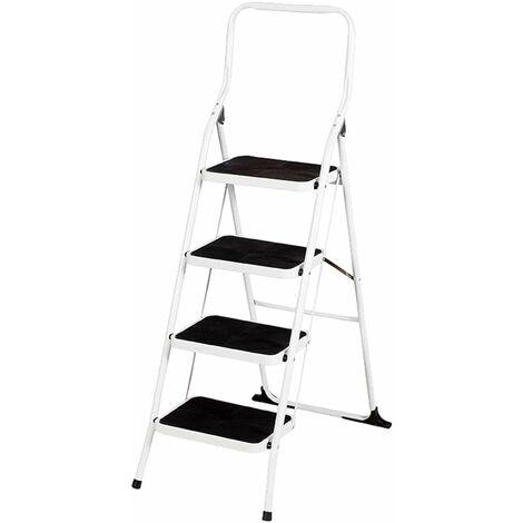 Taburete Escalera de Acero 4 Peldaños Catter House Alt. Máx. Trabajo 294 cm Plegable con Barandilla