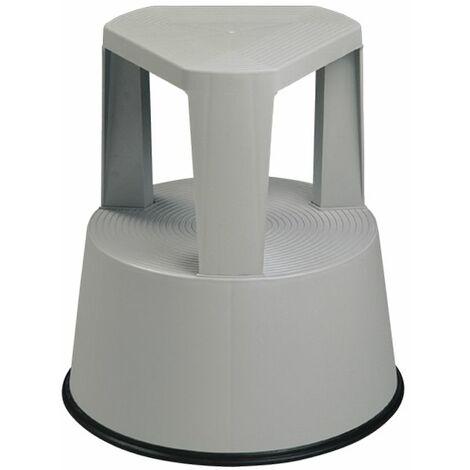 Taburete escalera de plástico con ruedas retráctiles - Gris 160B01412