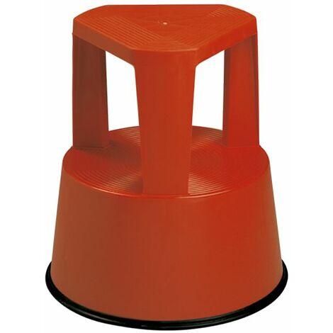 Taburete escalera de plástico con ruedas retráctiles - Rojo 160B01413