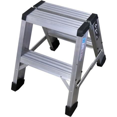 Taburete-escalera industrial de Aluminio doble acceso 2 x 2 peldaños SERIE STOOL NEW COMFORT