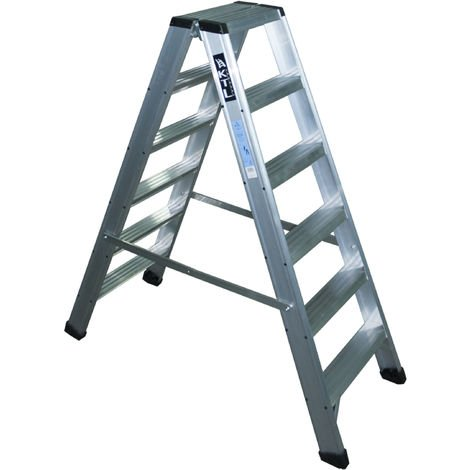 Taburete-escalera industrial de Aluminio doble acceso 2 x 4 peldaños SERIE STOOL NEW COMFORT