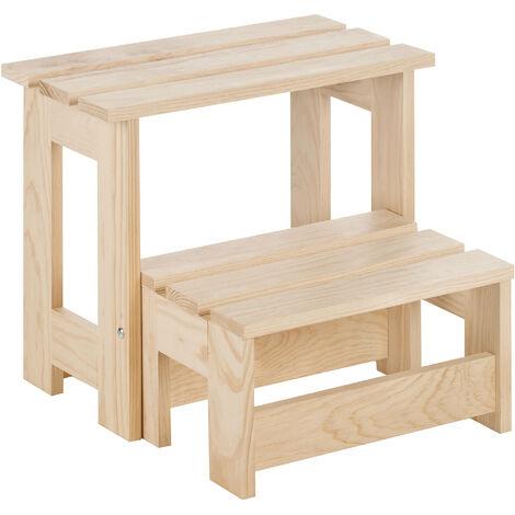 Taburete escalera plegable de madera de pino con 2 peldaños (42x45,5x27cm)