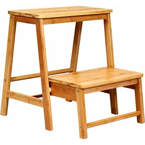 Taburete Escalera Plegable Escalera de 2 Peldaños Silla de Bambú 45x51x48 centímetros Cargable hasta 100 kg para Hogar