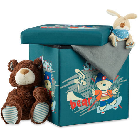 Taburete infantil plegable, Almacenamiento de juguetes, Baúl con tapa, 38 x 38 x 38 cm, Oso