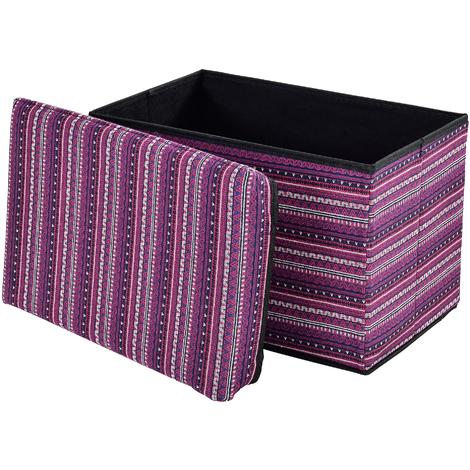 Taburete para almacenaje plegable - arcón tapizado de tela (48x32cm) - asiento - de colores - ahorra espacio