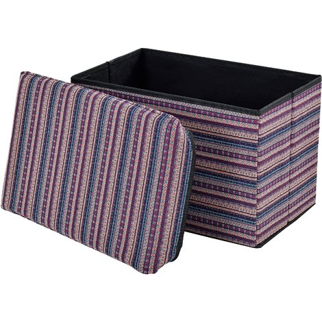 Taburete para almacenaje plegable - arcón tapizado de tela (48x32cm) - asiento - varios colores, de punto