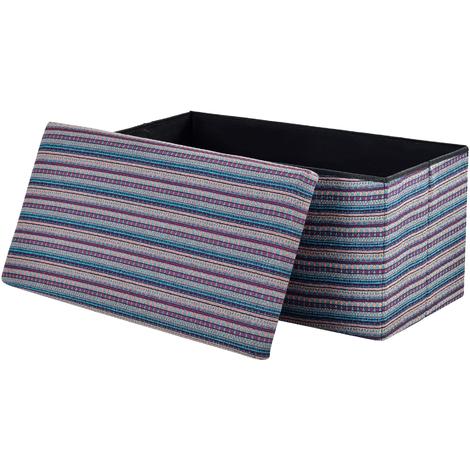 Taburete para almacenaje plegable - arcón tapizado de tela (76 x 38cm) - asiento - de colores
