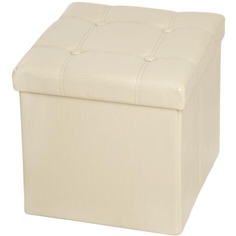 Taburete plegable con caja de almacenamiento cuadrada - taburete tipo puf plegable, asiento con espacio de almacenamiento, taburete de cuero sintético y madera