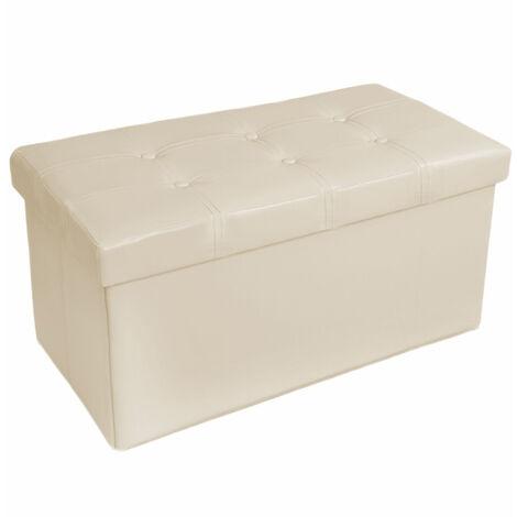 Taburete plegable con caja de almacenamiento - taburete tipo puf plegable, asiento con espacio de almacenamiento, taburete de cuero sintético y madera