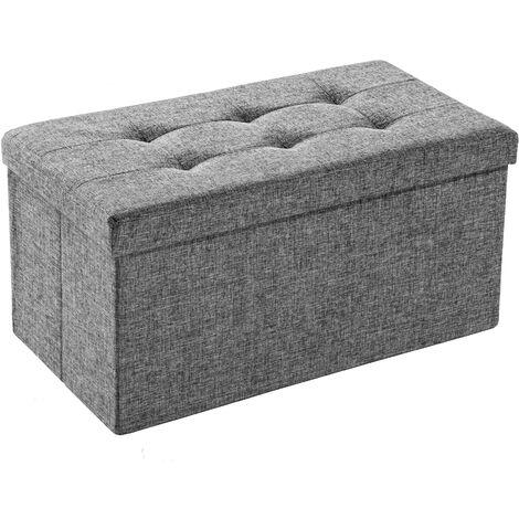 Taburete plegable con compartimiento de almacenaje rectangular - taburete tipo puf plegable, asiento con espacio de almacenamiento, taburete de madera y textil