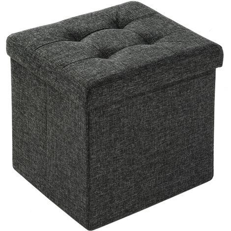 Taburete plegable con compartimiento de almacenaje - taburete tipo puf plegable, asiento con espacio de almacenamiento, taburete de madera y textil