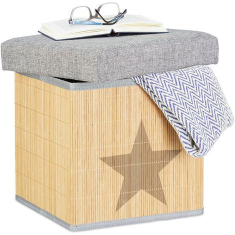 Taburete Plegable Puff Con Dibujo De Estrella Cubo 36 Cm Caja