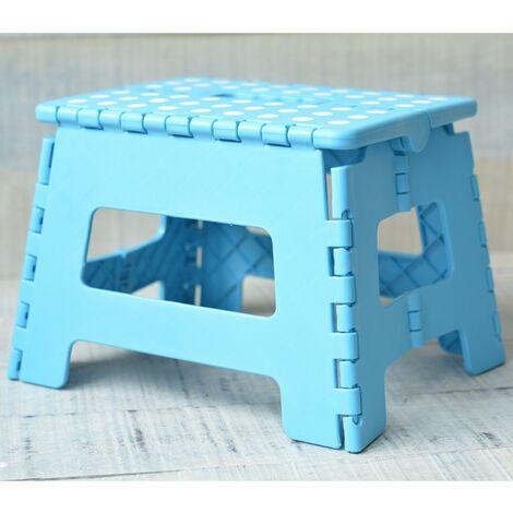 Taburete Plegable Robusto y Práctico Color Azul con Superficie Antideslizante en PVC