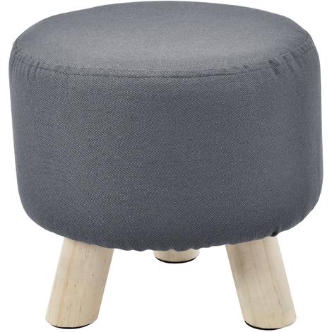 Taburete puff tapizado gris oscuro con patas de madera