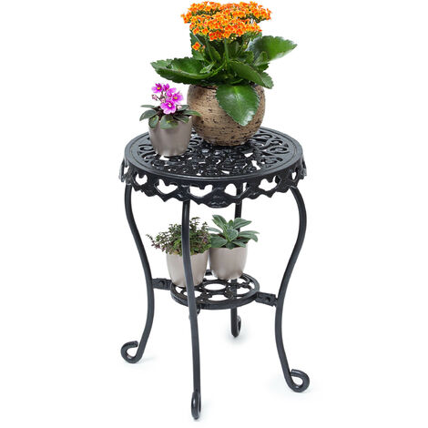 – Taburete redondo para plantas, tamaño M 41 x 30 x 30 cm, hierro fundido, jardin terraza patio, 2 depositos, mesa auxiliar, color negro