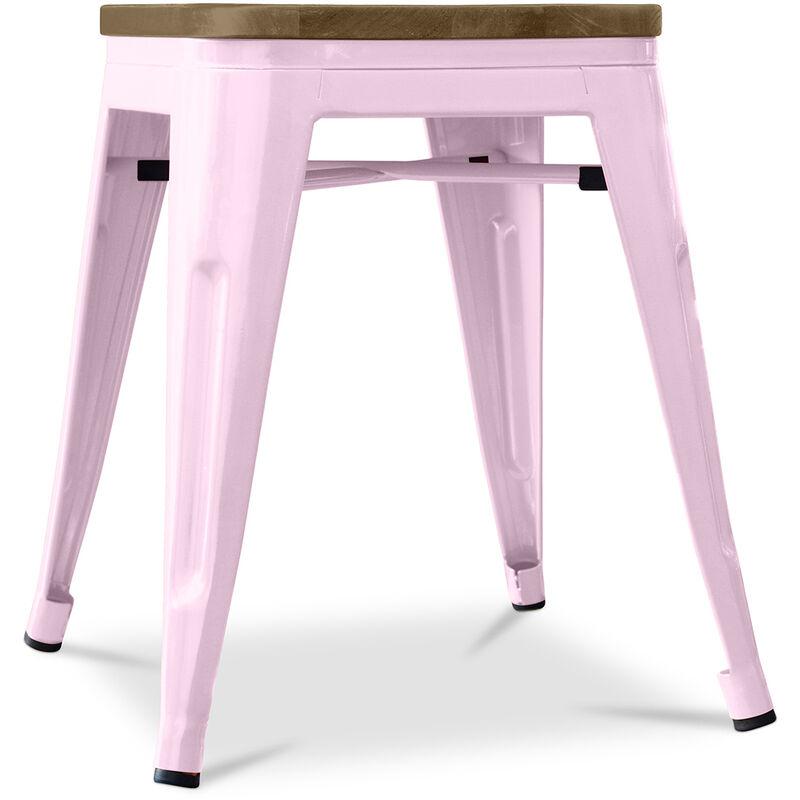 Taburete Tolix 45 cm de madera Pauchard Style - Metal Rosa pastel