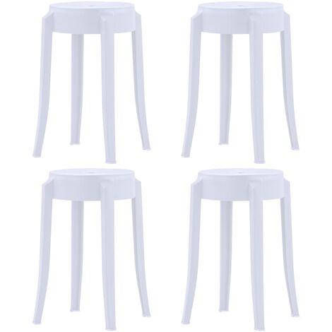 Taburetes apilables 4 unidades plástico blanco