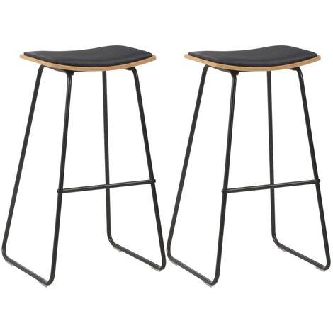 Taburetes cocina asientos de cuero sintetico 2 uds acero negro