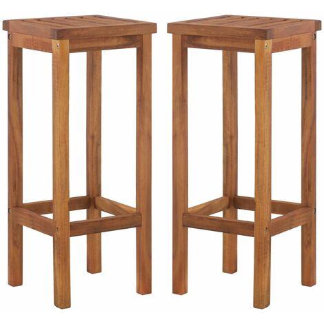 Taburetes de cocina 2 unidades madera maciza acacia