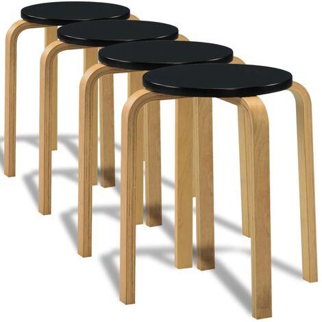 Taburetes de cocina 4 uds madera curvada negro