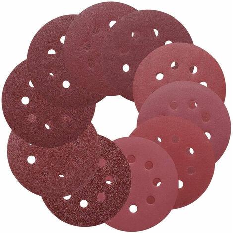 TACKLIFE Discos de lijado de 5 pulgadas y 8 orificios 100 piezas de papel de lija de gancho y bucle, 40/60/80/100/150/180/240/320/400/800 Papel de lija de lijadora de órbita aleatoria - ASD1A