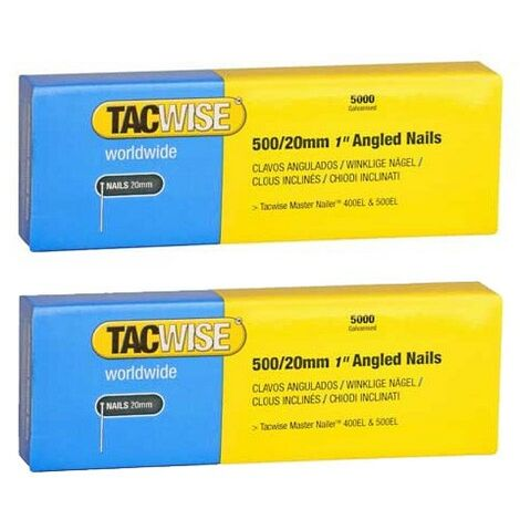 Tacwise 0823 Pack of 5000 20mm 18 Gauge Angled Nails 400els 500els Twin Pack