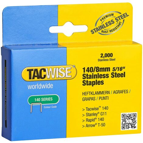 Tacwise 1216 Box of 2000 x 140 / 8mm Stainless Steel Staples