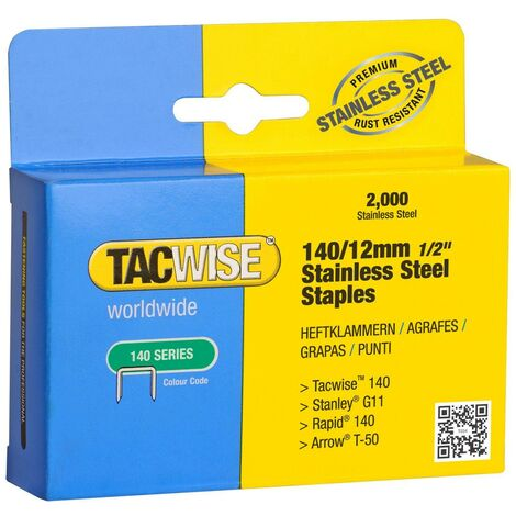 Tacwise 1220 Box of 2000 x 140 / 12mm Stainless Steel Staples
