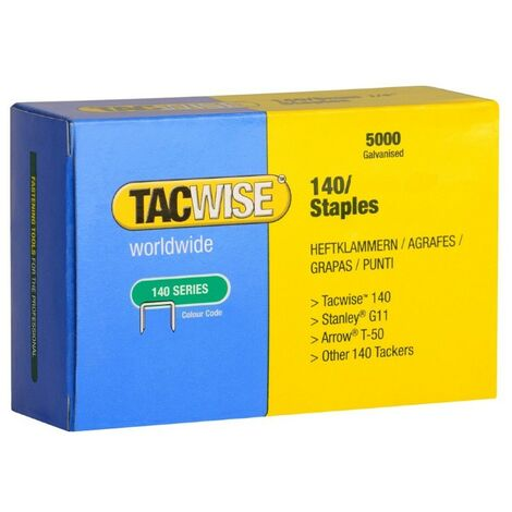 Tacwise 140 Series Staples Galvanised 10mm Box of x5000 Rapid Arrow Stanley