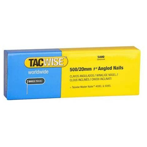 Tacwise 500 / 20mm 5000 Pack Angled Nails 18g 0823 Compatible with 400els 500els