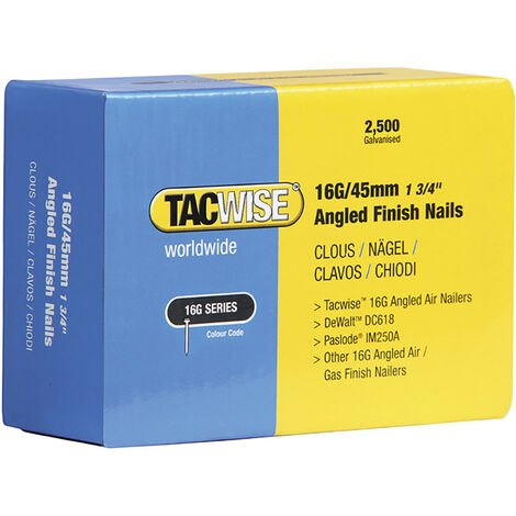 Tacwise TAC0771 16G Angled Finish Nails 45mm for DC618K (Pack 2500)