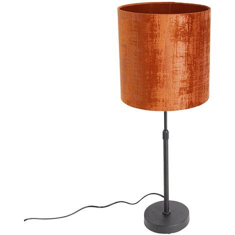 Tafellamp zwart met kap rood 25 cm verstelbaar - Parte