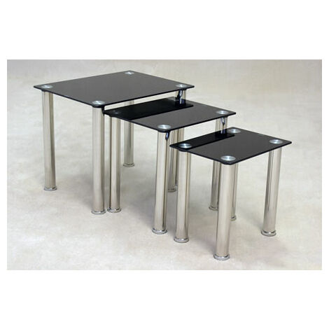 Taga Black Glass Nest Of Tables
