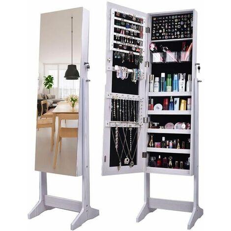 ?tagère à 4 couches de plancher en bois de miroir complet avec armoire de miroir réglable de rangement de bijoux de miroir intérieur