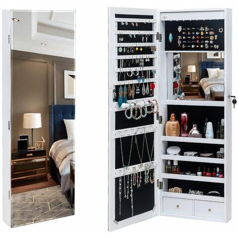 ?tagère murale à 4 couches en bois à miroir complet 2 tiroirs avec miroir intérieur 8 armoire à miroir de rangement de bijoux à lumière bleue LED Blanc