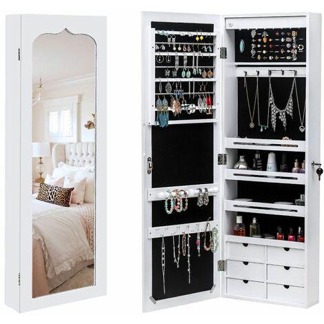 ?tagère murale à 4 couches en bois non miroir complet 6 tiroirs 8 armoire à miroir de rangement de bijoux à lumière LED bleue