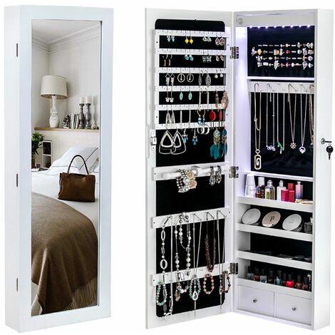 ?tagère murale en bois à 4 couches, non pleine miroir, 2 tiroirs, 8 lumières LED bleues, armoire à miroir de rangement de bijoux