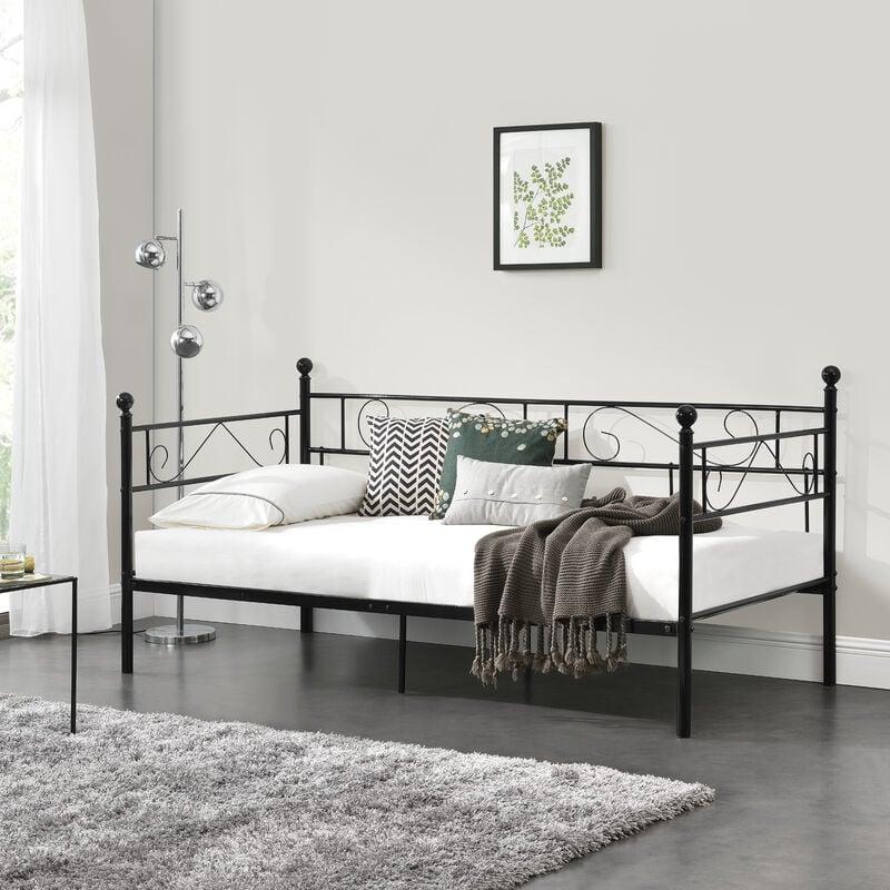 [en.casa] - Tagesbett 90x200 Metallbett Bett Daybed Bettsofa Kojenbett Jugendbett