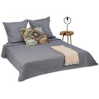 Tagesdecke Set, Bettüberwurf gesteppt 220 x 240 cm und 2 Kissenbezüge 80 x 80 cm, Kuscheldecke waschbar, grau