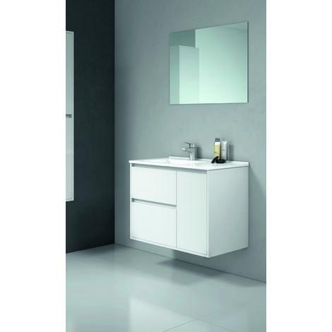 Tagus Mueble de baño con lavabo ceramico 2 Cajones/1Puerta 80 cms. Blanco brillo