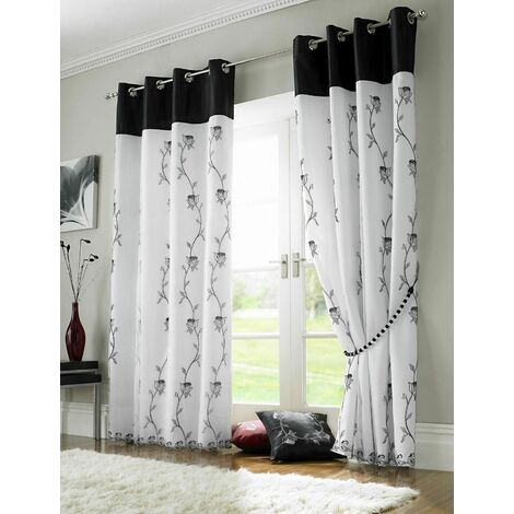 Tahiti Eyelet Curtains Embroidered Lined Voile Black/White 56x54""