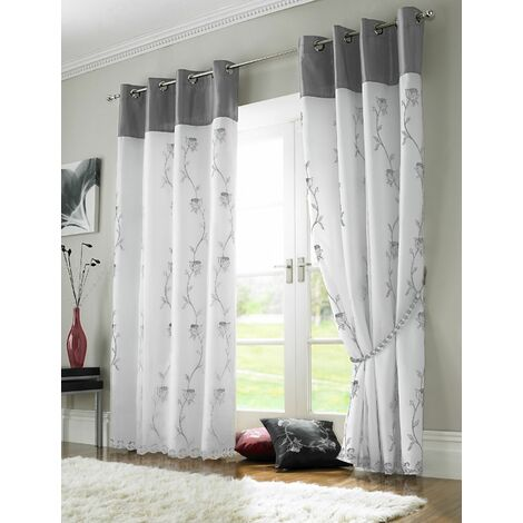 """Tahiti Eyelet Curtains Embroidered Lined Voile Silver 56x90"""""""